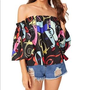 Off Shoulder Cute Loose Blouse Crop Top